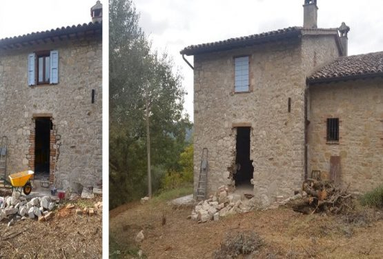 Un prima e dopo lavori a Monte Castello di Vibio. Ristrutturazione di un casale con restyling degli interni con studio design firmato Miani