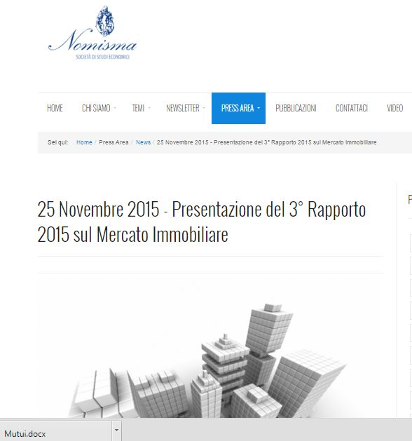 The third report 2015 with the analysis of Nomisma on real estate market