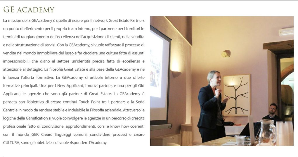 great estate academy, formazione, network