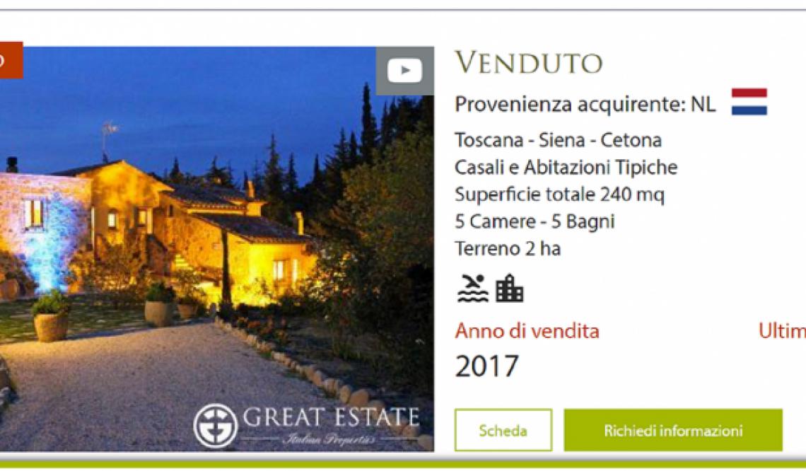 """Great Estate da il benvenuto al 2018 con la vendita di casale """"Il Felceto"""""""