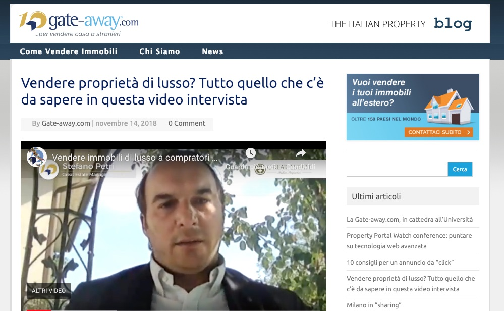 Gate-Away interviews Stefano Petri: how to sell a luxury property to an international clientele
