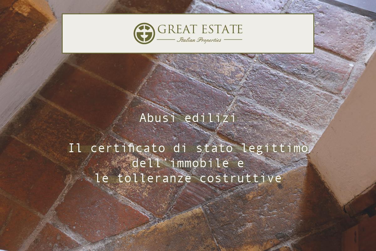 Новые нормы, регулирующие нарушения в строительстве: сертификат о легальности строения (il certificato di stato legittimo) и строительная толерантность