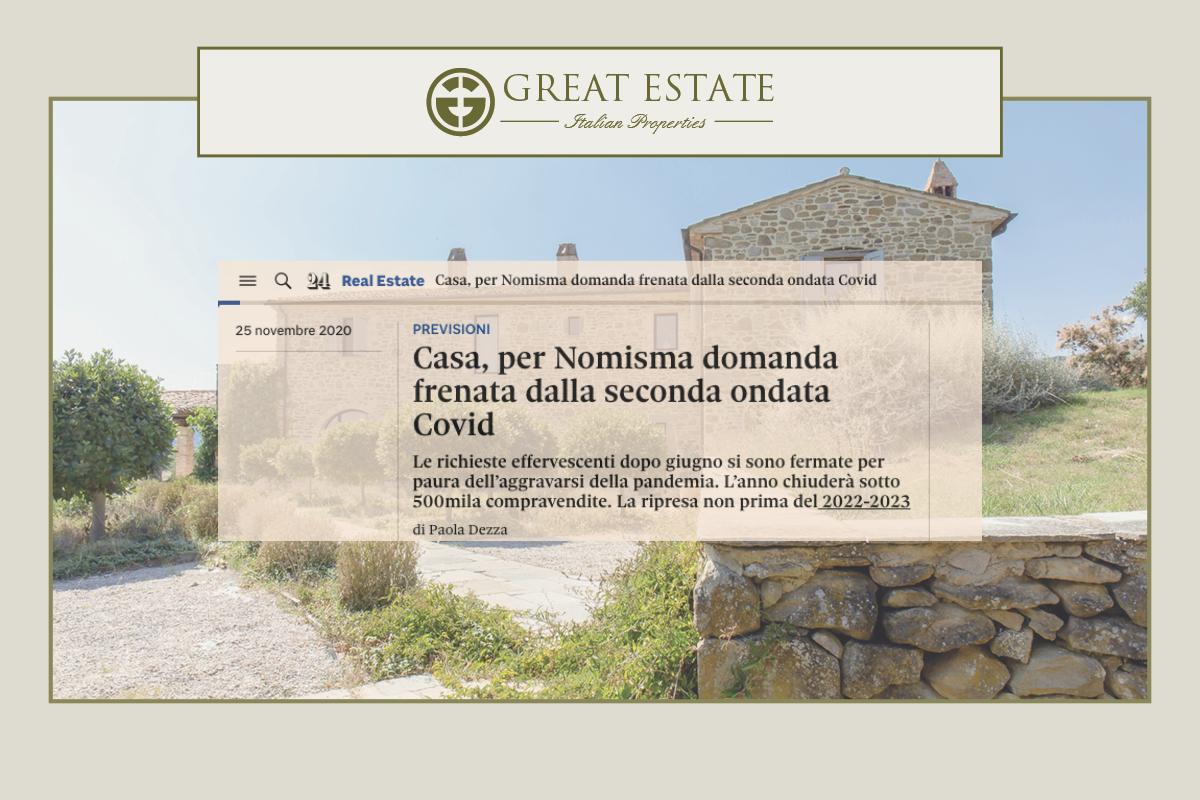 Il Sole 24 Ore: по мнению Nomisma (крупнейшей консалтинговой компании Италии) снижение спроса на жильё является следствием второй волны Ковид.