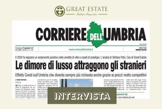 Compravendite di lusso 2020: Corriere Dell'Umbria intervista il C.E.O di Great Estate