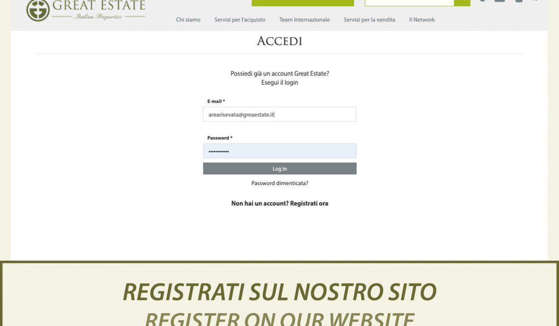 Хотите узнать абсолютно все о нашей недвижимости? Зарегистрируйтесь на нашем сайте greatestate.it!